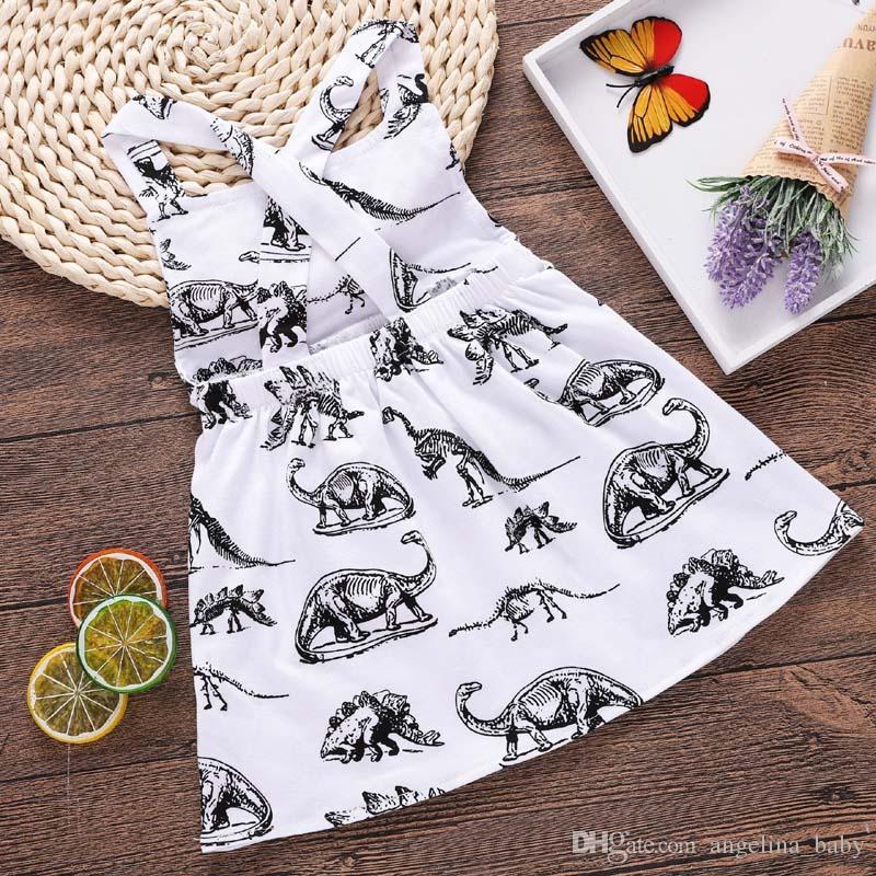 2018 New Baby Girl Dresses Dinosaur Animal Printed Halter Cotton Back Cross Dress Summer Kids Clothing 6M-3T Z11