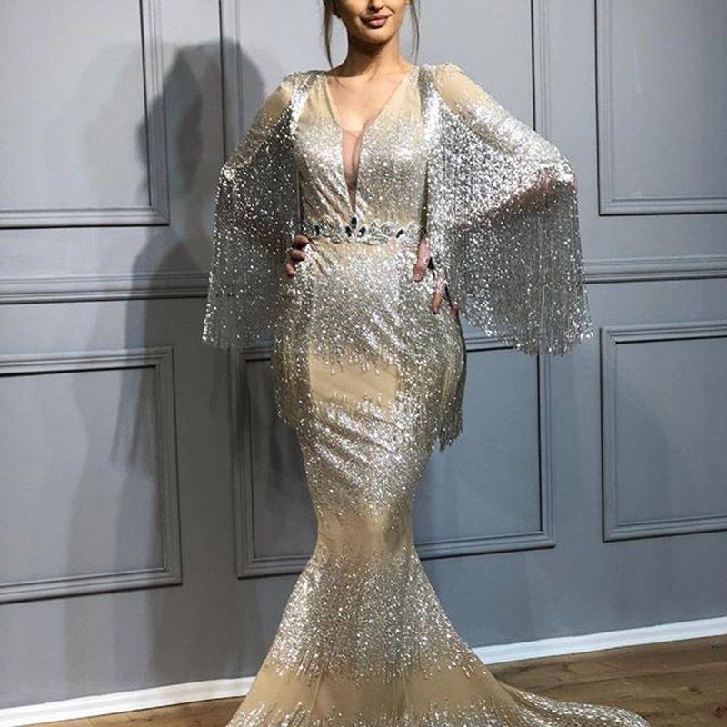 GiayMus Mermaid 2018 Tassel Evening Dresses Deep V Neck Half Sleeves Beads  Tassel Prom Dresses Vestidos De Festa Graduate Dress Arabian Buy Gowns  Online ... f708975a828d