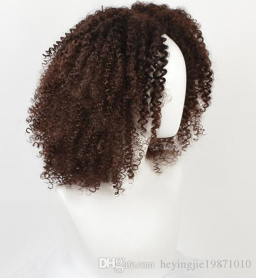 Xiu Zhi Mei Top Brown Synthetic Curly Wigs for Women Ombre Short Afro Wig African American Natural 12 Inches Hair