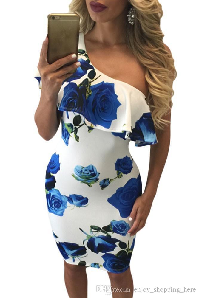 Yaz Bodycon elbiseler kadın kapalı omuz fırfır kollu büyük gül çiçek bayanlar için baskı süt ipek ince seksi parti elbiseler kızlar