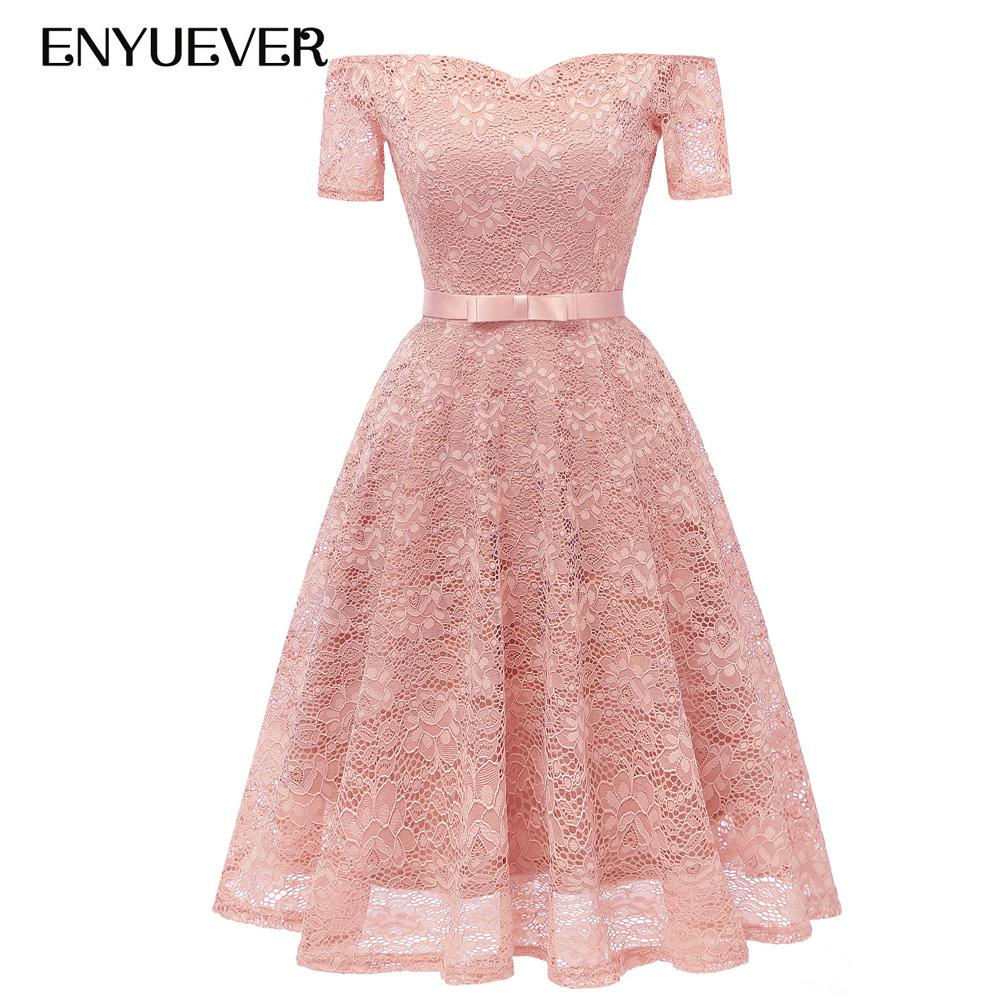 4835c730831c3 Enyuever Pink Lace Dress Woman Clothes 2018 Autumn Vestido Vintage Runway  Designer Off Shoulder Elegant Wedding Party Dress Bow