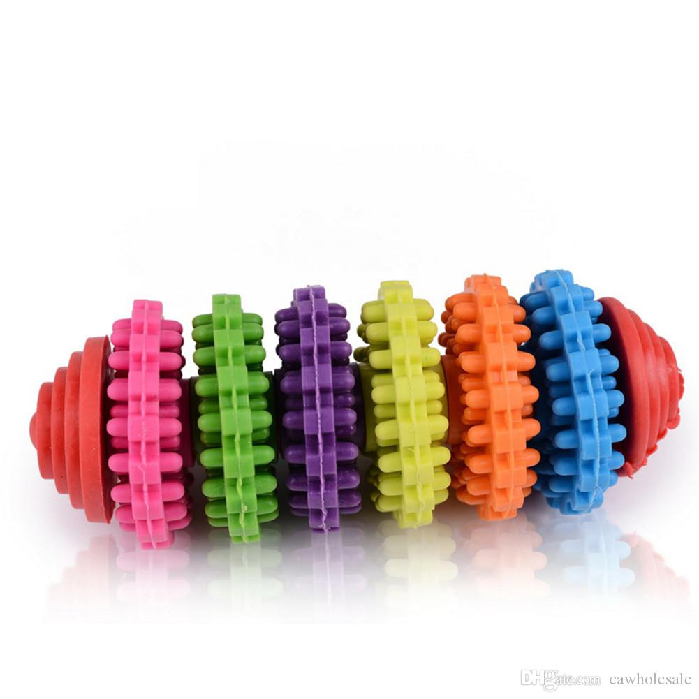 Colorful Pet Dog Slide Gear Molar Teeth Cleaning Chew Toy,Molar teeth non-toxic swivel ring - colorful
