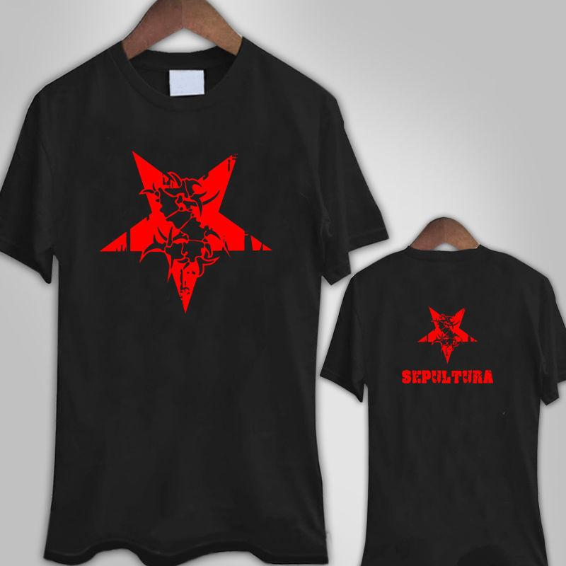 89f373629a3e7 Compre Camisetas Personalizadas Online Crew Neck Men Novedad Short  Sepultura Red Star Logo Tees A  11.0 Del Customarketingshirts