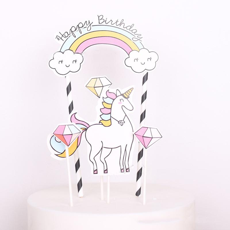 5pcs Unicorn Party Party Cake Topper 1st One First Birthday Party Cupcake Украшение Baby Shower Supplies 2017 Hot