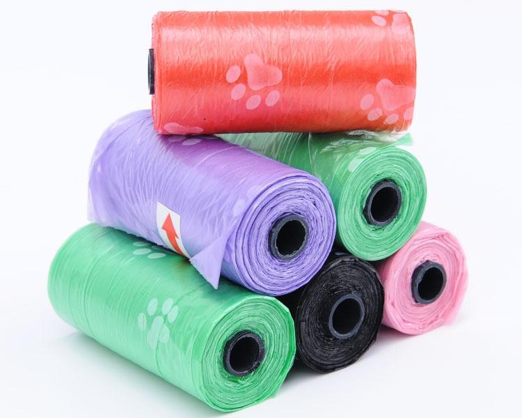10 Rollos = Bolso de caca de basura para perros mascotas degradable + dispensador de hueso GRATIS Paw Print Recargas de limpieza a granel Bolsas de recolección de mierda de rollo