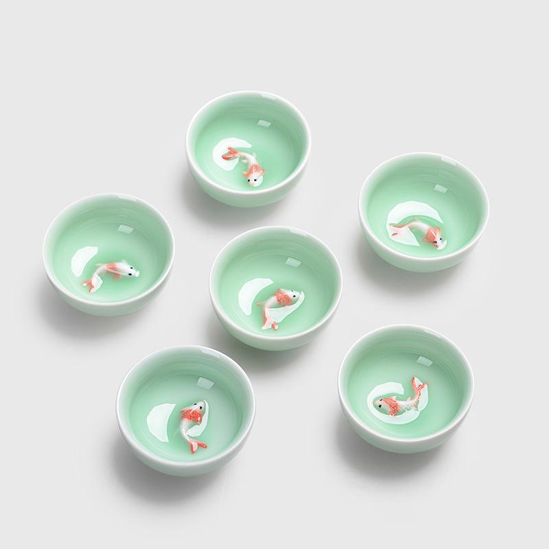 grosshandel chinesische teetassen porzellan celadon fisch teetasse set loose leaf teekanne drink oolong tee keramik china kung fu tee sets von homnumberone