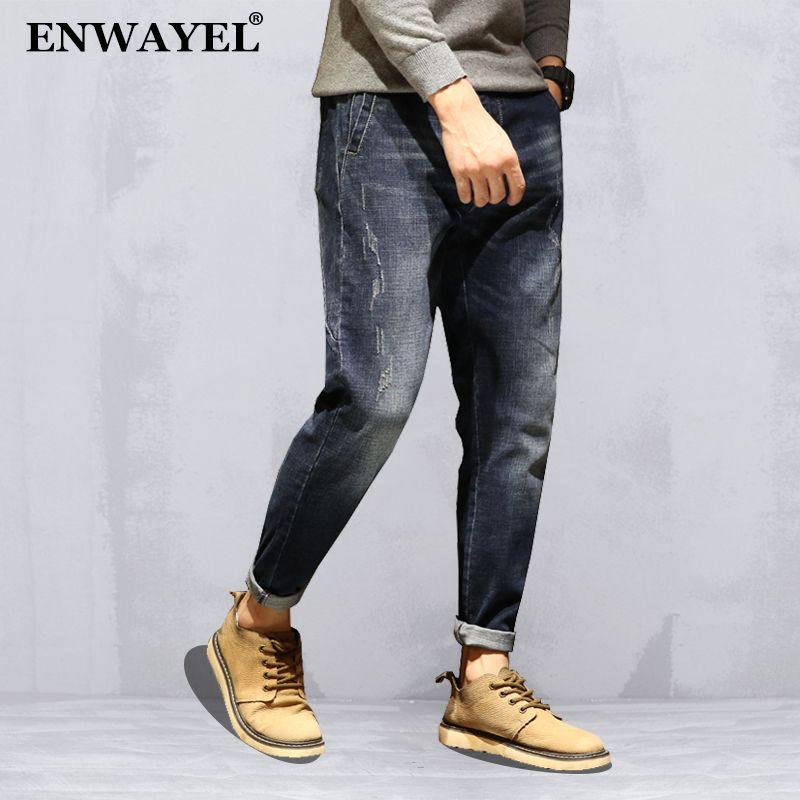 d9b2f6a343 Compre ENWAYEL Otoño Marca Ropa Denim Casual Jeans Hombres Ropa Lápiz Moda Harem  Classic Slim Fit Masculinos Pantalones Para Hombre D216 A  43.38 Del ...