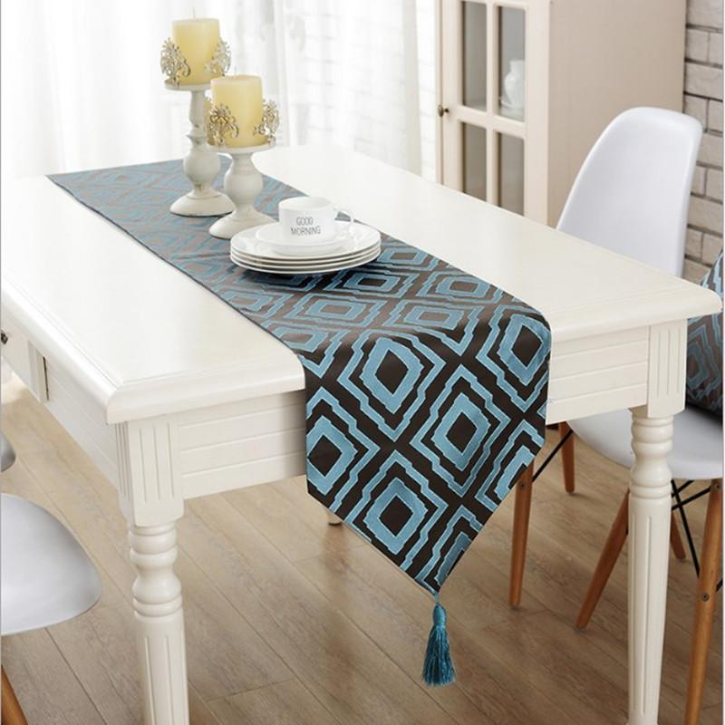 Coffee Table Runner.Juyang New European Style Cloth Table Runner Beautiful Coffee Table Tablecloth Classic Plaid Decorative Runner
