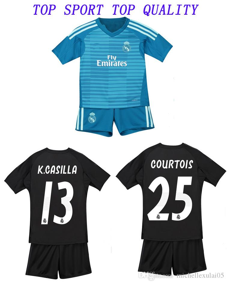 73db88483 18 19 Kid s Real Madrid Goalkeeper Soccer Kit Goalie NAVAS COURTOIS ...