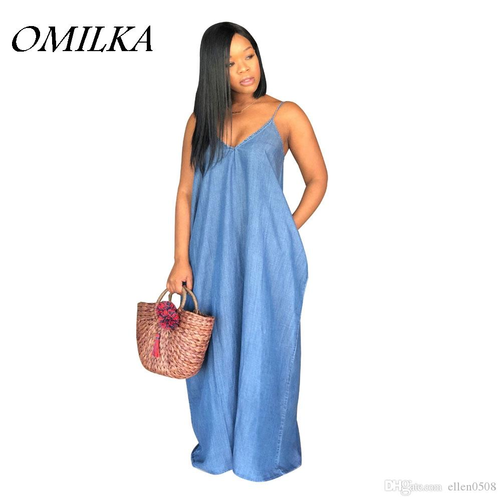 232bf098561 OMILKA Denim Jeans Loose Dress 2018 Summer Women Spaghetti Strap V Neck  Casual Blue Plus Size Beach Streetwear Long Maxi Dress Cute Cocktail Dresses  ...