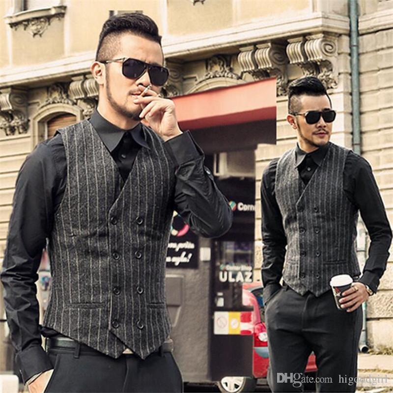 Grosshandel 2018 Vintage Grau Wolle Tweed Westen Slim Herren Anzug
