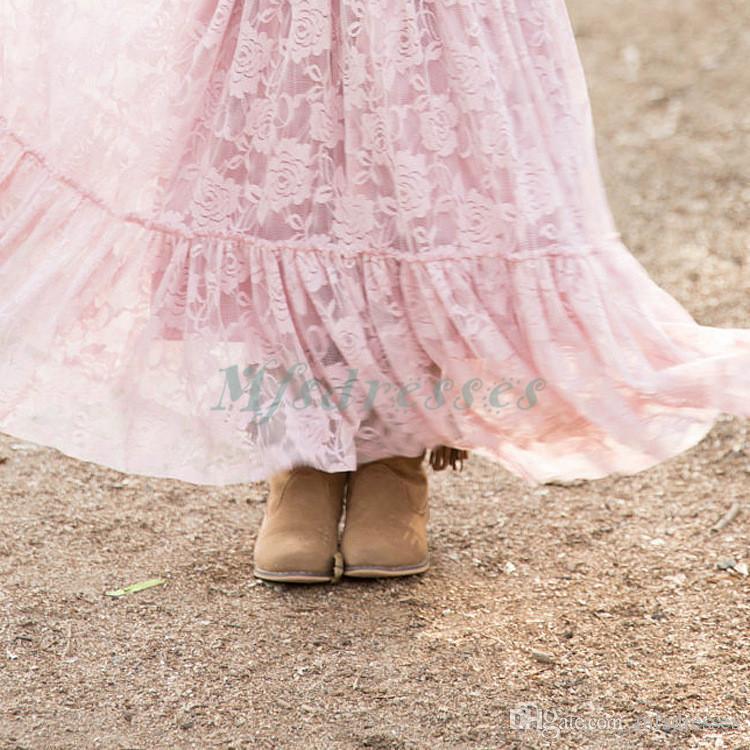 Nueva princesa linda rosa de manga larga vestidos de niña de flores hasta el tobillo niños formales vestido de fiesta de escarda chicas