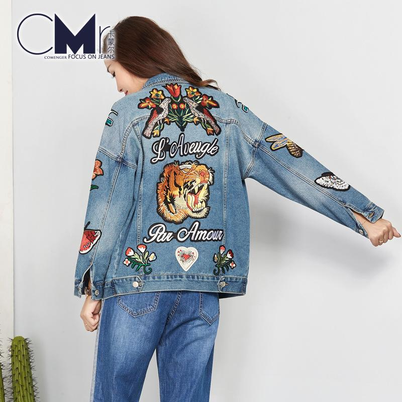 1bf140105821e Embroidery Designs Floral Denim Jacket Coat Long Sleeve Vintage Shorts 2018  New Fashion Women Jeans Jacket With Rose Embroidery Y18102502 Womens Leather  ...