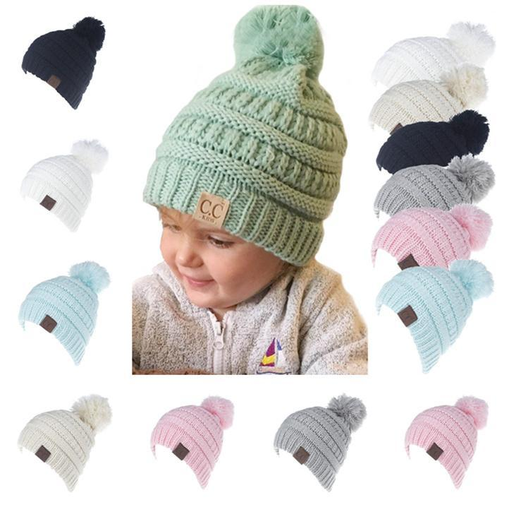 ab87e1607d6 CC Ponytail Beanie Hat Girl Boy Crochet Knit Cap Winter Skullies ...