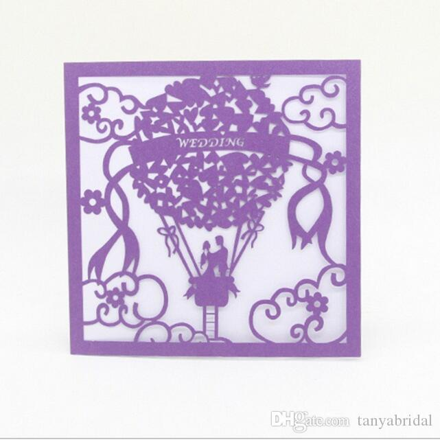 Hollow lace wedding invitation card hot air balloon Shape Cute Custom made laser cut masquerade birthday ball without insert