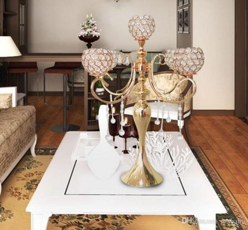 элегантный новый высокий 5 руки свадьба розовое золото Кристалл канделябры для свадебные украшения центральные