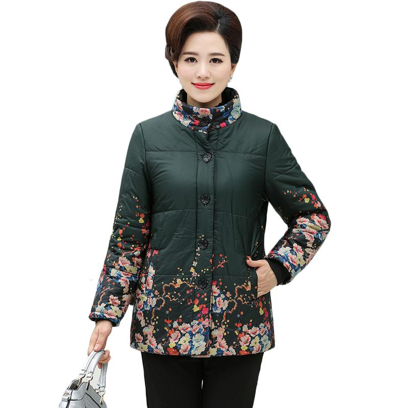Middle Age Women Winter Tops Big Size Mother Clothes Plus Large Size 5XL Female Ethnic Floral Print Parka Thick Warm Coats XH720