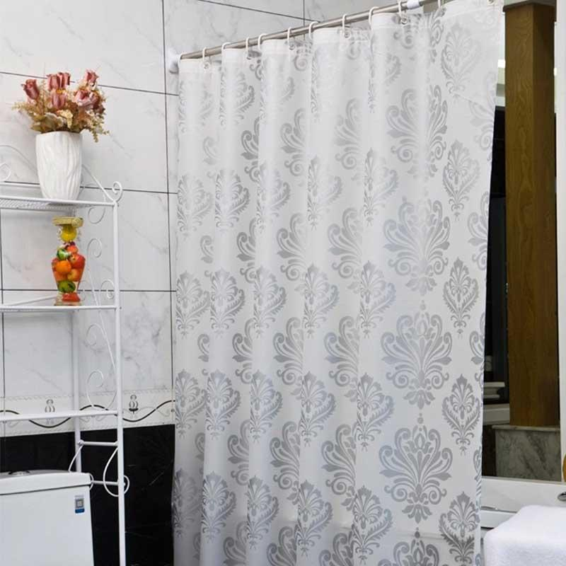 2019 PEVA Fabric Shower Curtain With Hooks Waterproof Plastic Bath Screens Geometric Flowers Printing Eco Friendly Bathroom Curtains From China Smoke