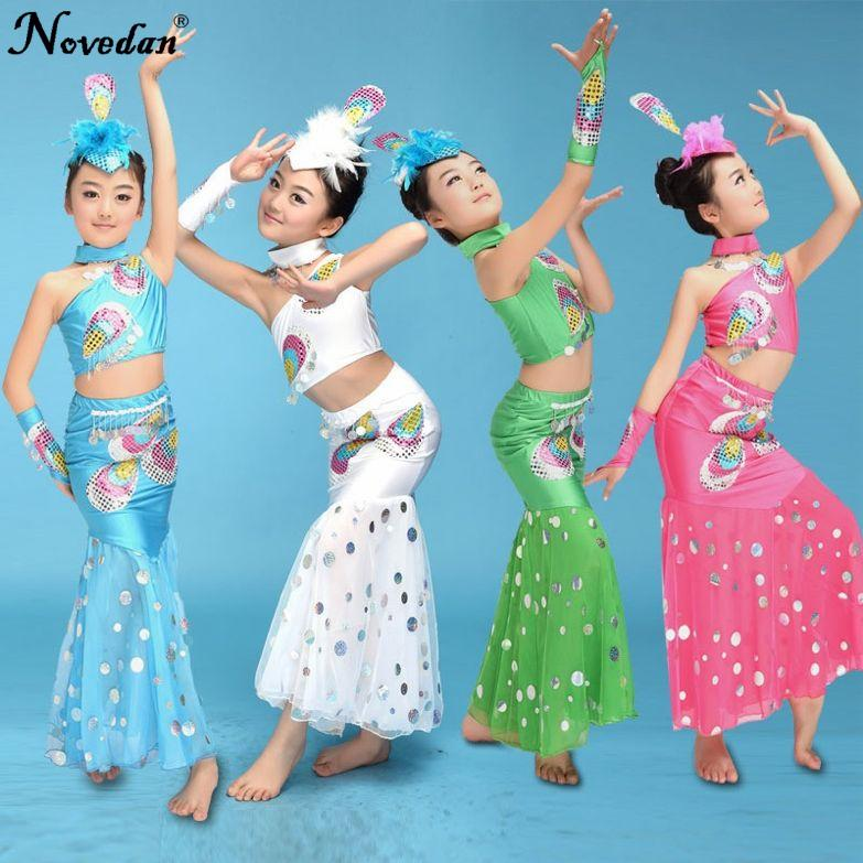 9f2cd7e43 2019 Kids Belly Bollywood Dance Costumes Children Indian Girls Peacock Dai  Mermaid Tail Costume Girl Dance Wear From Rykeri, $24.63 | DHgate.Com