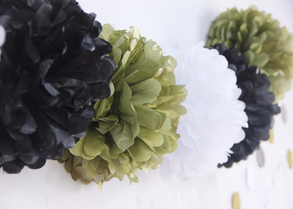 New Black / Gold / White Paper Crafts Decoration Paper Tassels / Pom pom /Black Gold White Garland Party Decoration