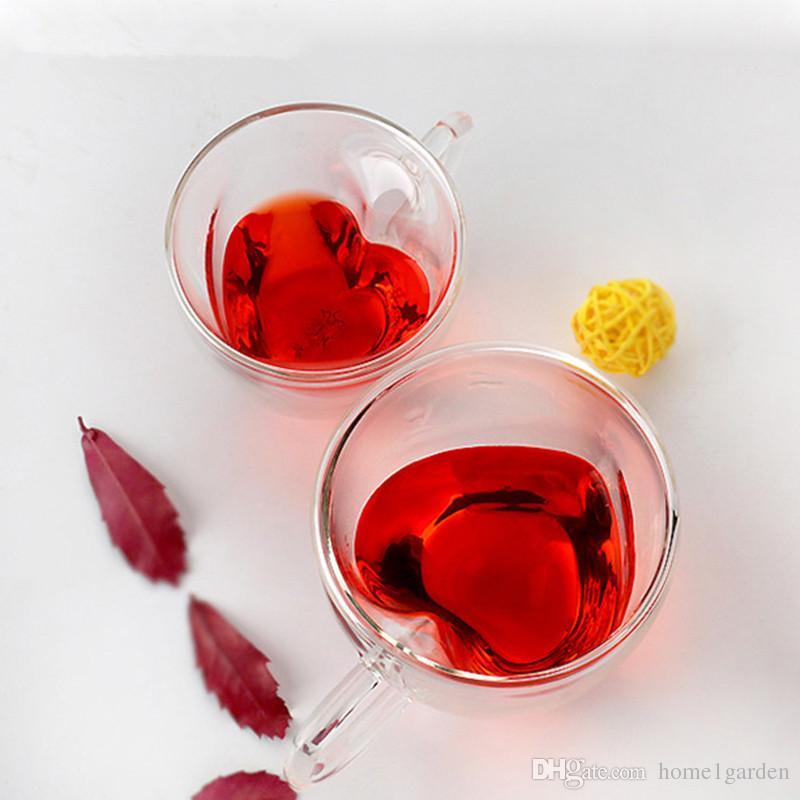 180 مل 240 ملليلتر مزدوجة الجدار الزجاج أكواب القهوة شفافة على شكل قلب أكواب الشاي حليب الشاي مع مقبض هدايا رومانسية
