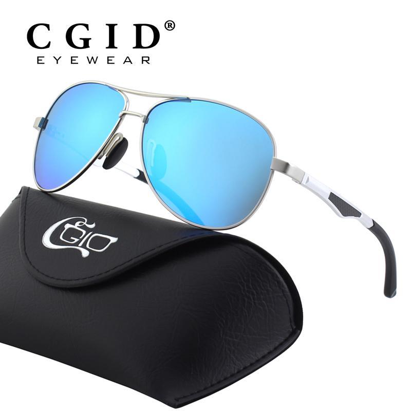 a8205cb68a9bb5 CGID Polarized Al Mg Alloy Pilot Sunglasses 100% UV400 Protection ...