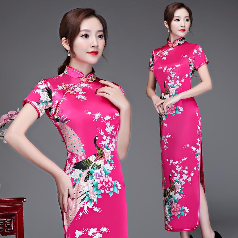 cec0824c47 2018 New 5XL 6XL Qipao Women Rayon Print Cheongsam Lady Sexy Long Cheongsam  Chinese Style Party Dress Plus Size 3XL 4XL