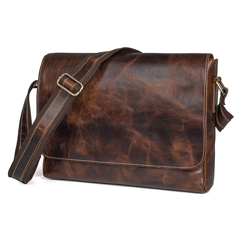 Mens Shoulder Crossbody Messenger Bags Cow Leather Vintage Travel Business  Brand Designer Ipad Book Mobile Bag For Man Male Bag Large Handbags Black  Leather ... 17e97596983e2