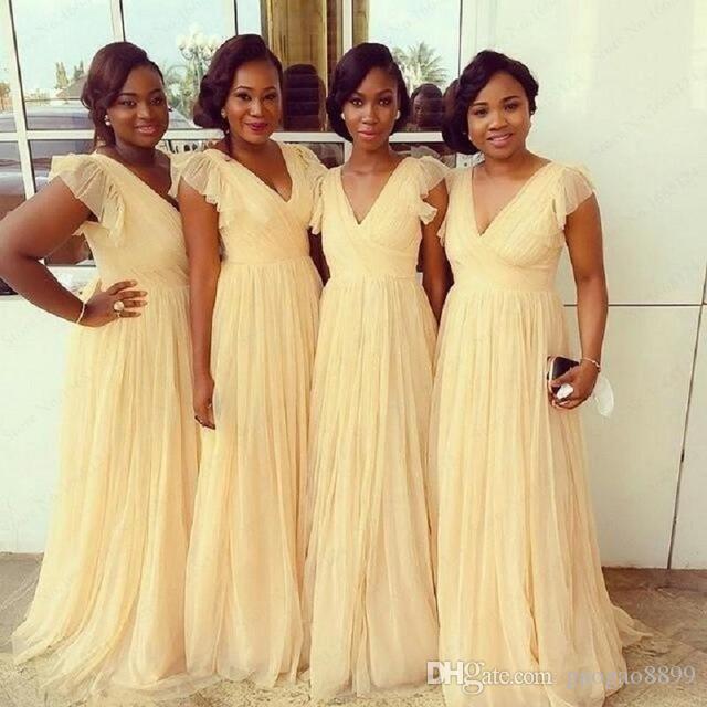2018 Cheap African Bridesmaid Dresses Cap Sleeve V Neck A Line Chiffon  Floor Length Wedding Guest Dress Wedding Guest Dresses White Dresses From  Gaogao8899 27524d7c5435