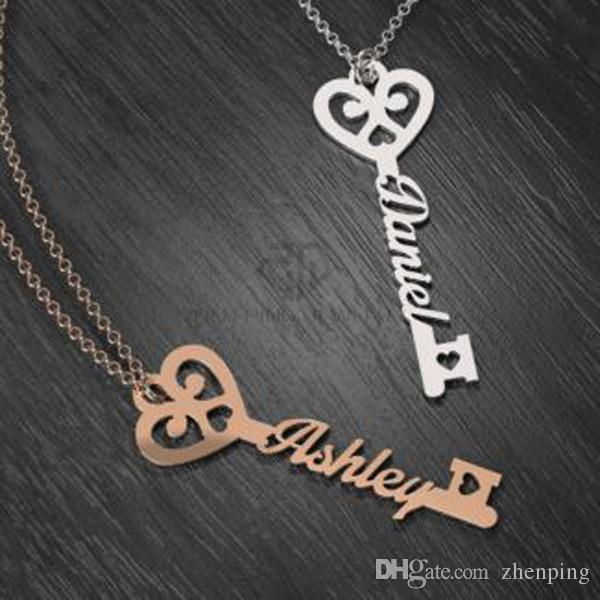 delicate personalized key to true love name necklace stainless steel
