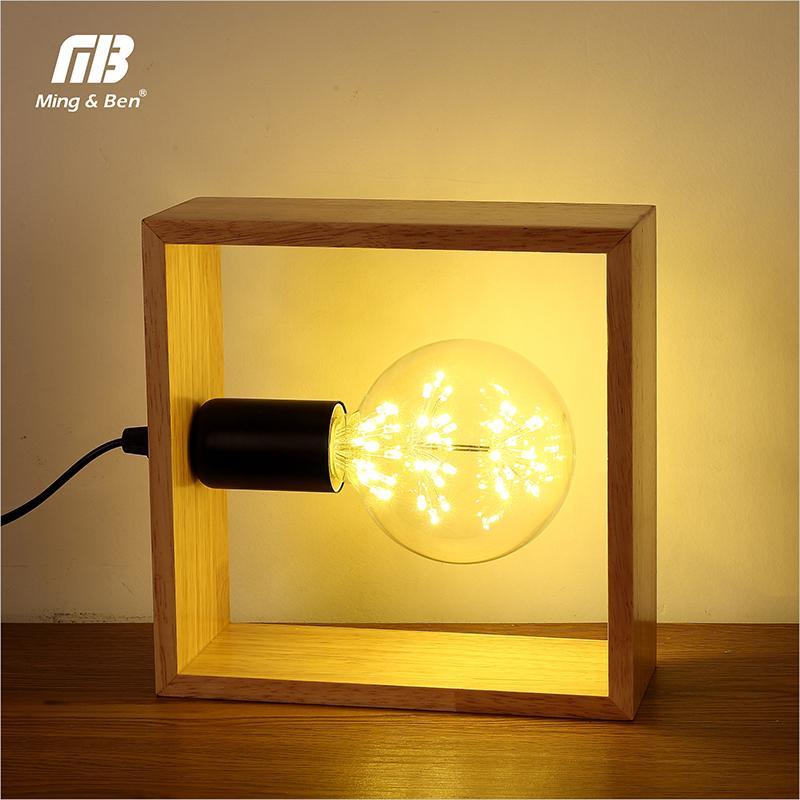Art Decoration Desk Lamp Vintage Solid Wood Table Lamps Bedside Wooden Lighting for Living Room Bedside Bedroom Reading Lighting