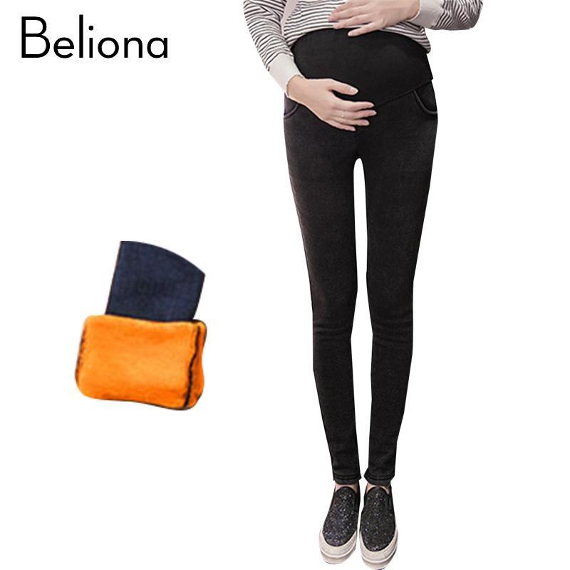 6493f0b85e Compre Además De Terciopelo Cálido Maternity Jeans Pantalones Pantalones  Para Mujeres Embarazadas Otoño Invierno Ropa De Maternidad Skinny Embarazo  Ropa A ...
