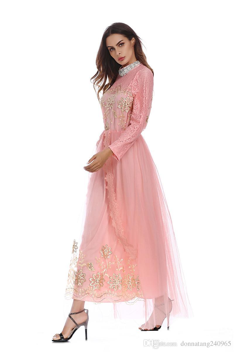High Quality Muslim Women Long Sleeve Hijab Wedding Dress Middle East Arab Islamic Fashion Embroideried Clothing Robe For Women