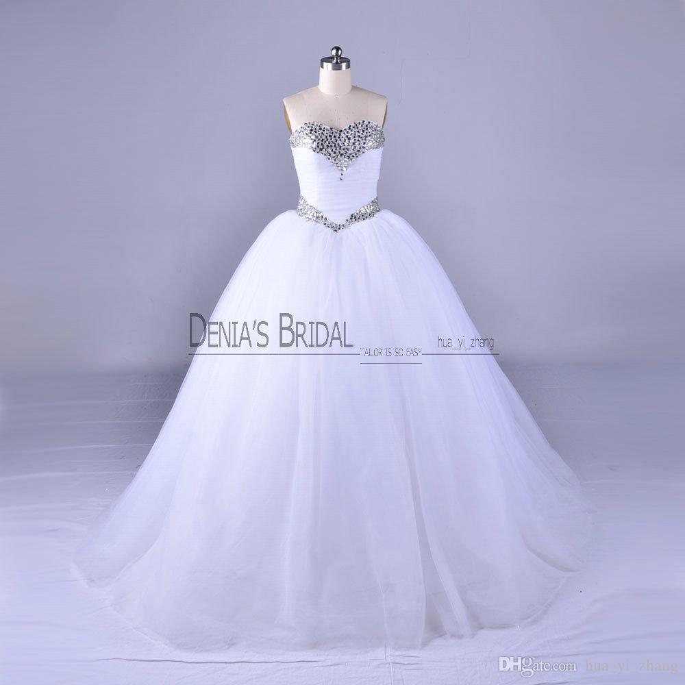2018 Bling Ball Gown Wedding Dresses With Sleeveless Floor Length ...