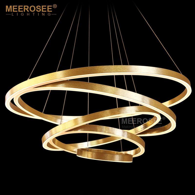 Large Rings Led Chandelier Lights Gold Hanging Lamp For Restaurant