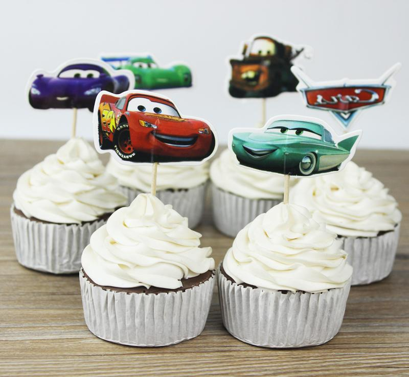 24pcs Cars toppers picks cupcake topper baby shower supplies child kids birthday party cake baking party decoration