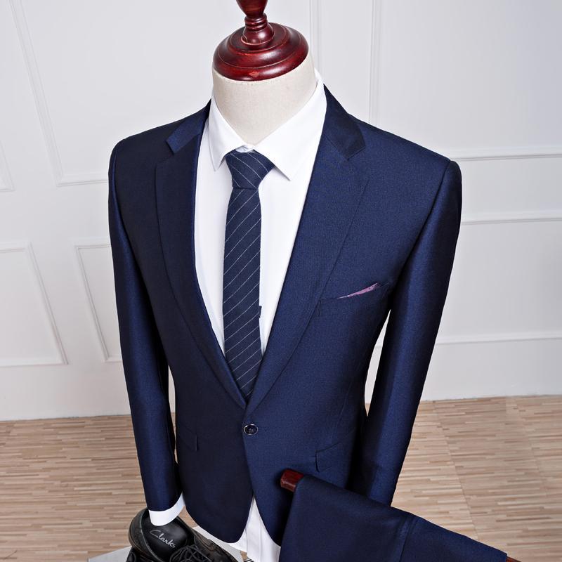 2017 новые весенние и осенние мужские свадебные темно-синие костюмы, мужские пиджаки, мужские деловые костюмы, мужские костюмные костюмы куртка + брюки + жилет