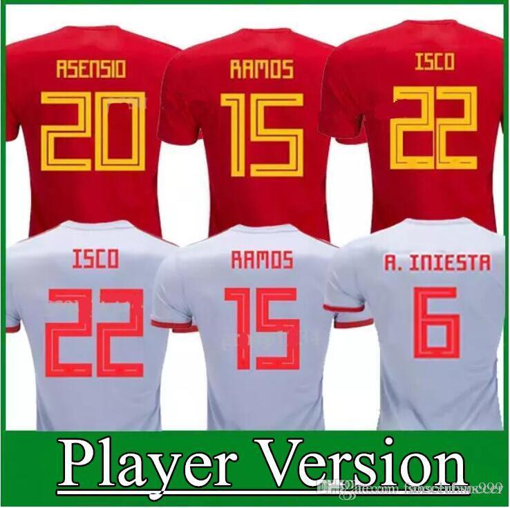 4b6fcb6fa948 Player Version 2018 Spain Jersey INIESTA RAMOS Home Red FABREGAS ...