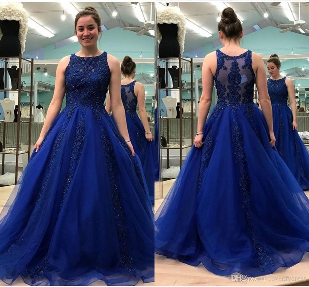 60f9529353c 2019 Royal Blue A Line Formal Dresses Prom Dress Sheer Neckline Lace  Applique Beaded See Though Back Plus Size Evening Gowns Party Dress Short  Formal ...