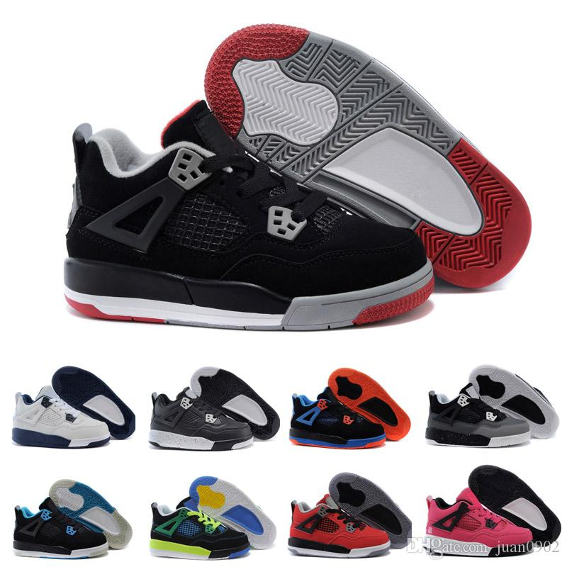 the latest bdd2b c618b Acheter Nike Air Jordan 4 13 Retro Kids 4 Pure Money Basket Ball Chaussures  Mens 4s BRED Royalty White Ciment Sports Sneakers Motorsport Sports De  Plein Air ...