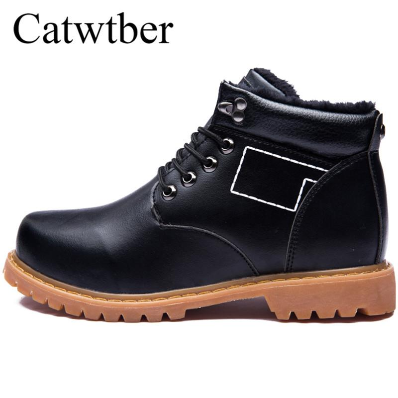 6f675e82473 Catwtber Winter Boots Lace Up Leather Casual Shoes Snow Men Boots Thick  Sole Work Platform Unisex Fashion Tooling Wear Resistant Wedge Booties  Boots Sale ...