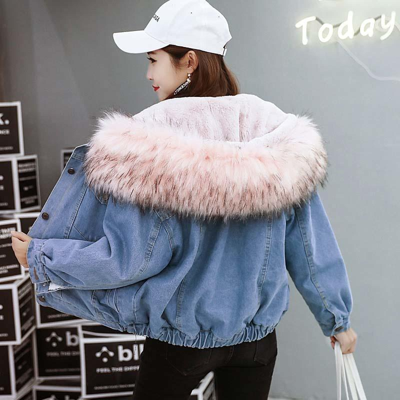 afc438e58f2e3 2018 New Warm Winter Bomber Women Spring Autumn Hooded Coat Jeans Denim  Jackets Basic Ladies Top Windbreaker Female Large S1017 Leather Jacket Mens  Quilted ...