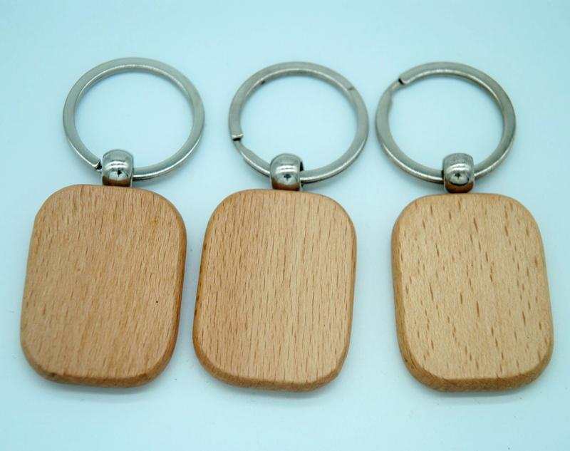 50pcs Blank Round Rectangle Wooden Key Chain DIY Promotion Customized Key  Tags Promotional Gifts