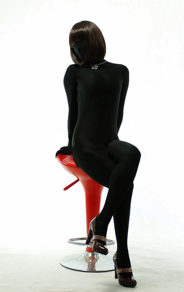 black Zentai costume full body leotard tights zentai suit custom made spandex costume
