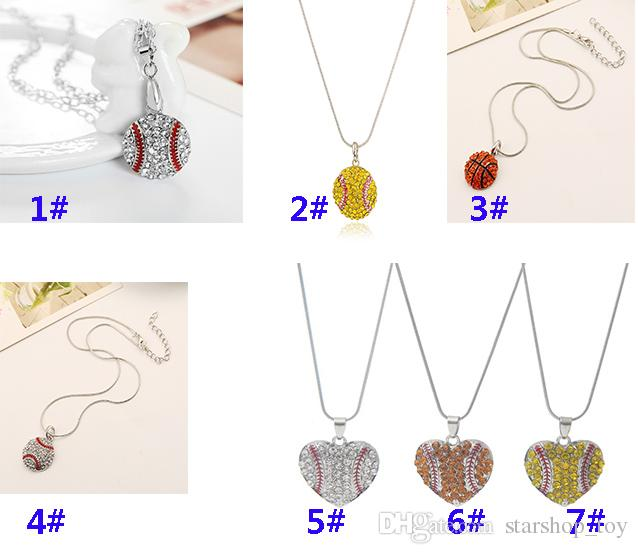 Mode Strass Baseball Collier Charme Softball Pendentif Collier Amour Coeur Chandail Bijoux Accessoires Partie Cadeaux TY7-366
