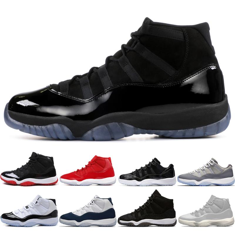 11 11s Cap and Gown Prom Night Hombres Zapatillas de baloncesto Platinum Tint Gym Red Bred PRM Heiress Barons Concord 45 Cool Grey mens sneaker sport # 1