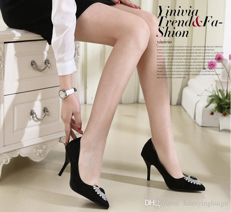 New style Woman suede gem diamond fine with high heels Slip on Suede High Heels Wedding Shoes Ladies Fashion Pumps CX2