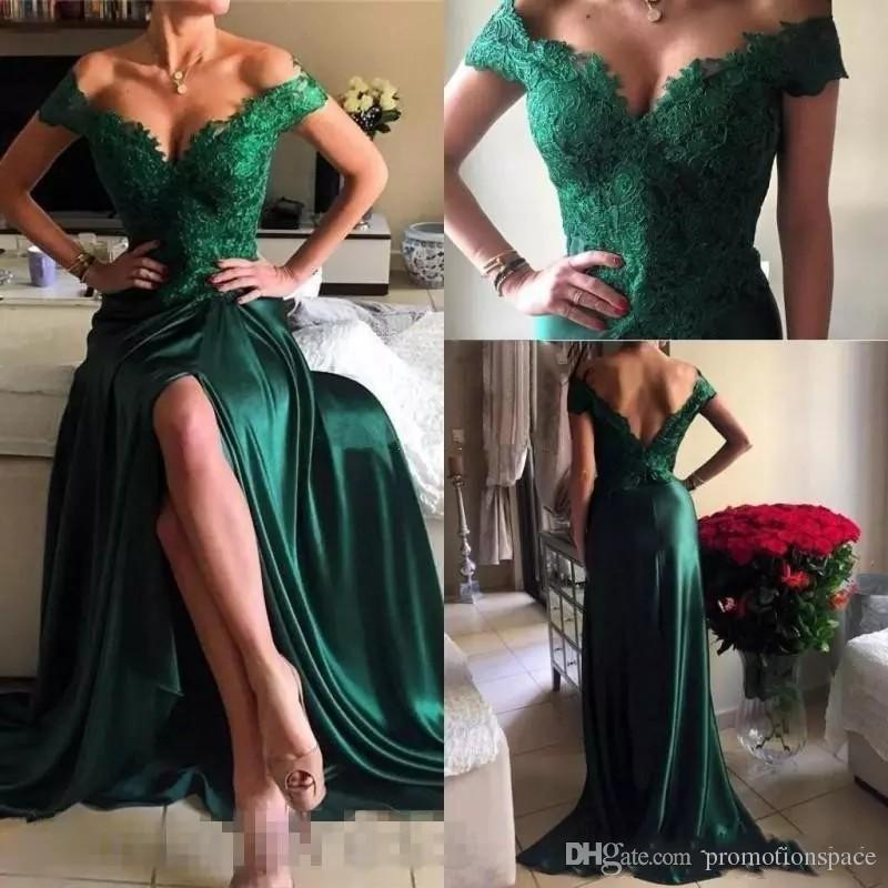 2017 изумрудно-зеленый с плеча Пром платья аппликации кружева линия длинные скромные сторона Сплит вечернее платье спинки платья партии