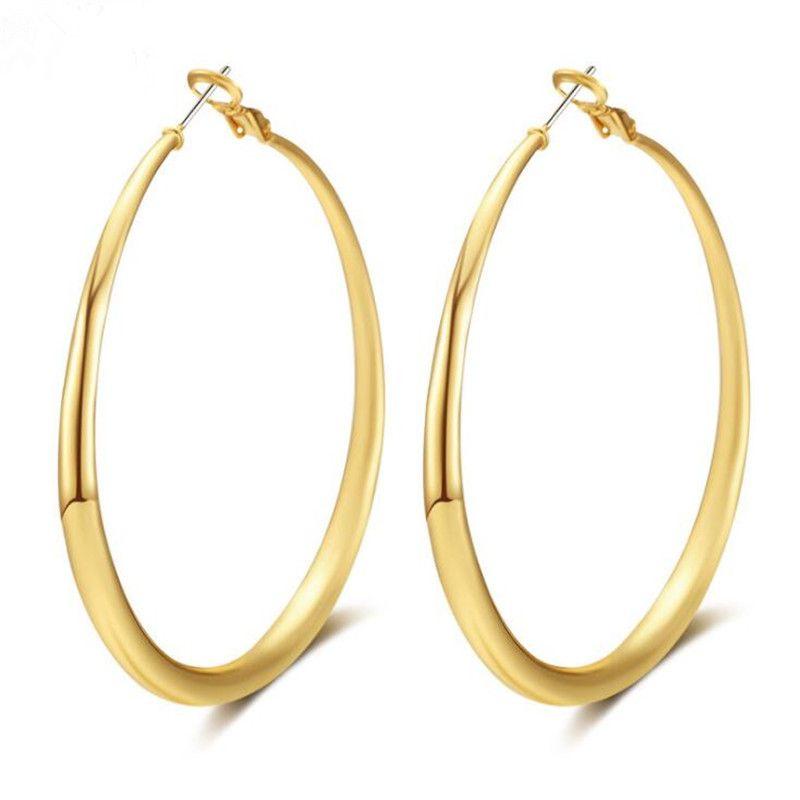2019 European Simple Real Gold Hoop Earrings Designer Earrings For
