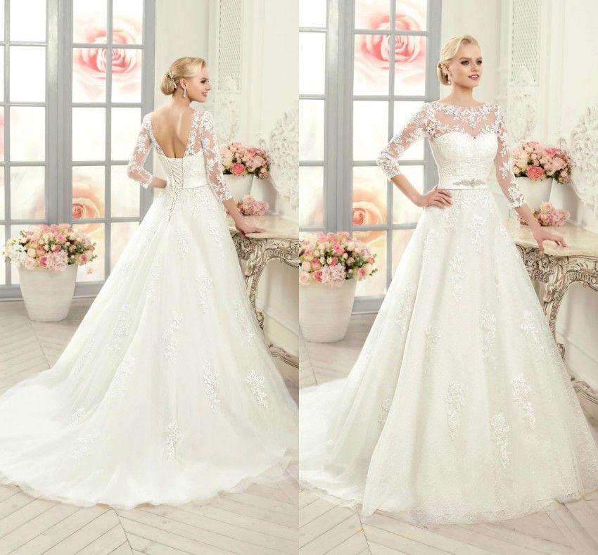 discount modern white ivory vestidos de novia modest long sleeve